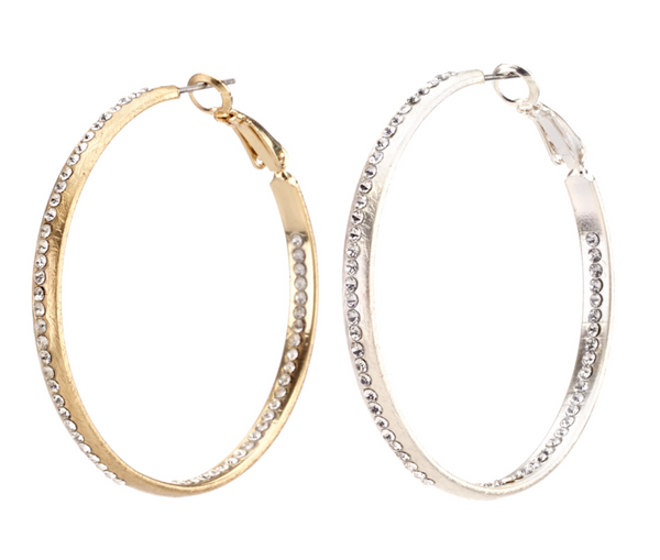 Large Crystal Hoop Earrings