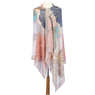 Large Flower Lightweight Scarf beige