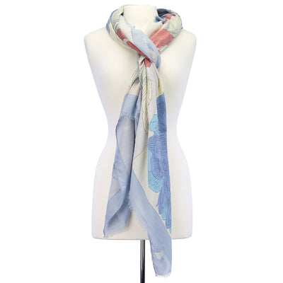 Large Flower Lightweight Scarf blue