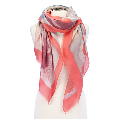 Large Flower Lightweight Scarf coral