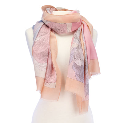Large Flower Lightweight Scarf peach