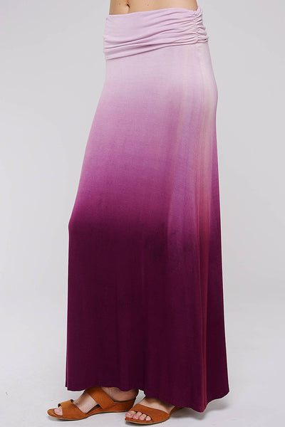 Lavender Ombre Dip Tie-Dye Banded Maxi Skirt