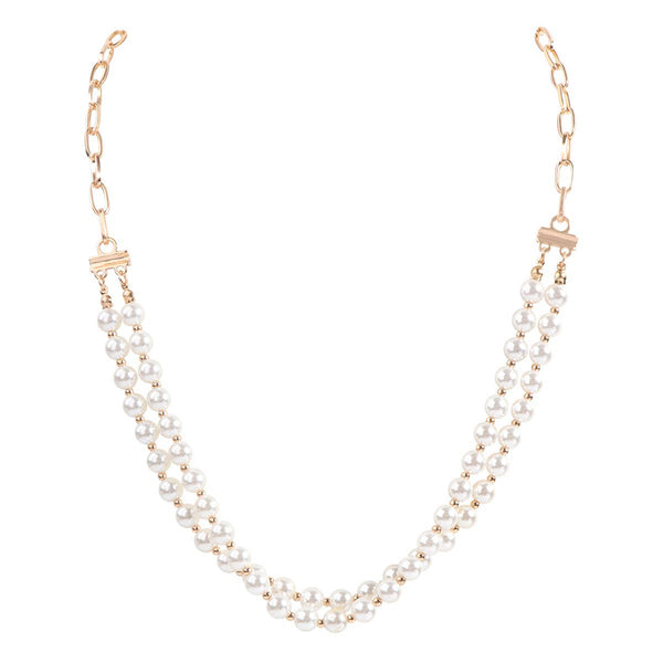 Face Mask Holder or Crossbody Layered Pearl Chain Necklace