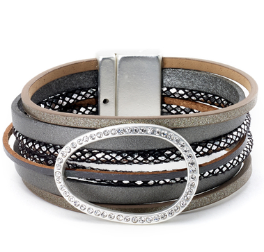 Leather Bracelet with Glam Circle Centerpiece grey