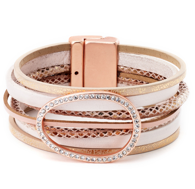 Leather Bracelet with Glam Circle Centerpiece rose gold