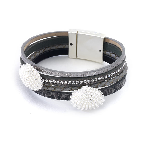 Leather Bracelet with Scallop Shell Charms