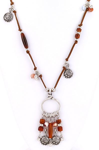 Leather Necklace with Turkish Charms