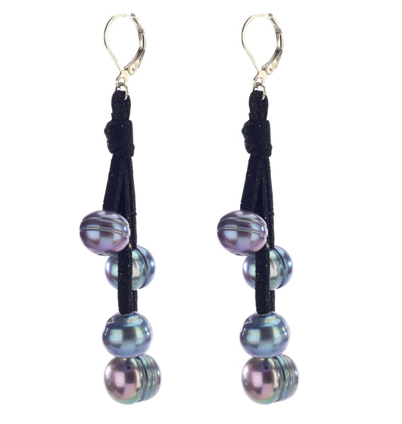 Pearl Drop Leather Earrings