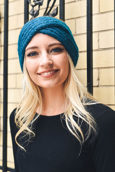 Headband - Cross Over Knit Headband - Girl Intuitive - Leto - One Size / Blue