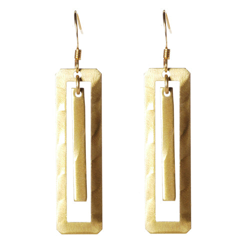Jillery Mixed Metal Rectangle Drop Earrings