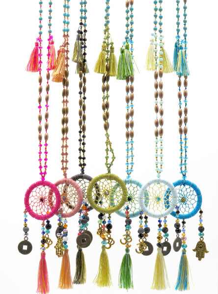 Long Dreamcatcher Necklace with Charms