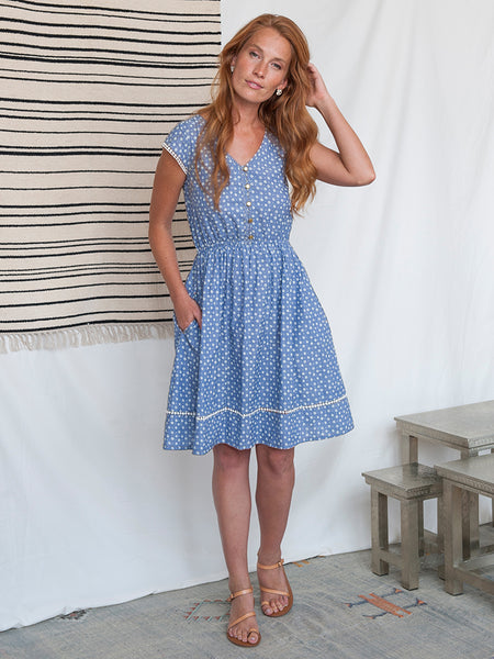 Mata Traders Dotted Trim Dress Chambray