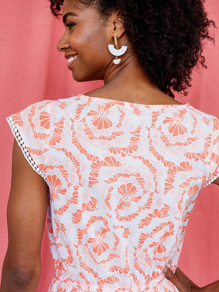 Mata Traders Dotted Trim Dress Coral back