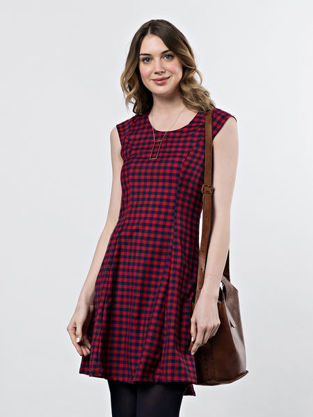 Mata Traders Emma Dress Red Gingham close up