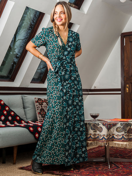 Mata Traders Wrap Maxi Dress Jade