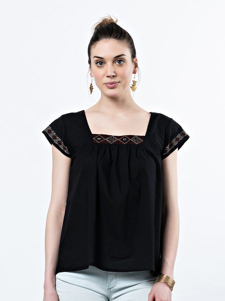 Mata Traders Kira Square Neck Top Black