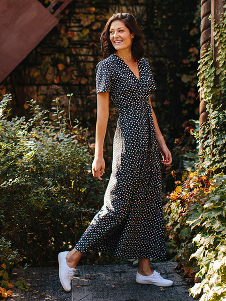 Mata Traders Wrap Maxi Dress Black Dots
