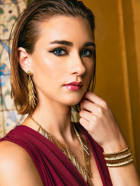 Metal Cascading Fringe Drop Earrings model