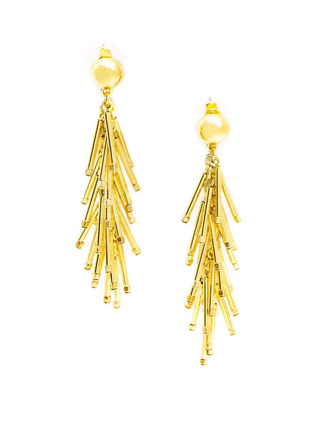 Metal Cascading Fringe Drop Earrings gold
