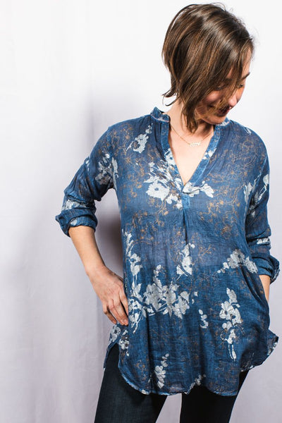 Dolma Long Metallic Floral Top