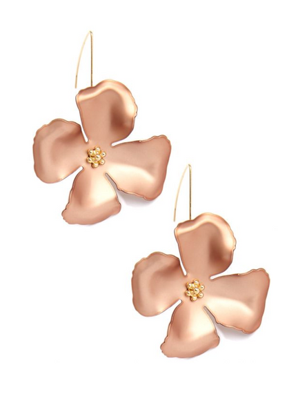 Metallic Flower Threader Drop Earrings