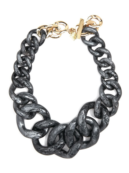 Metallic Marbled Chunky Linked Collar Necklace grey
