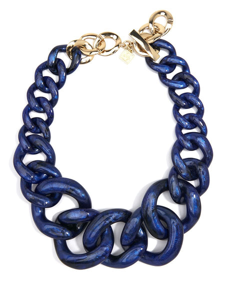 Metallic Marbled Chunky Linked Collar Necklace navy