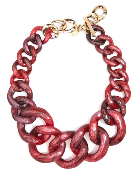 Metallic Marbled Chunky Linked Collar Necklace red