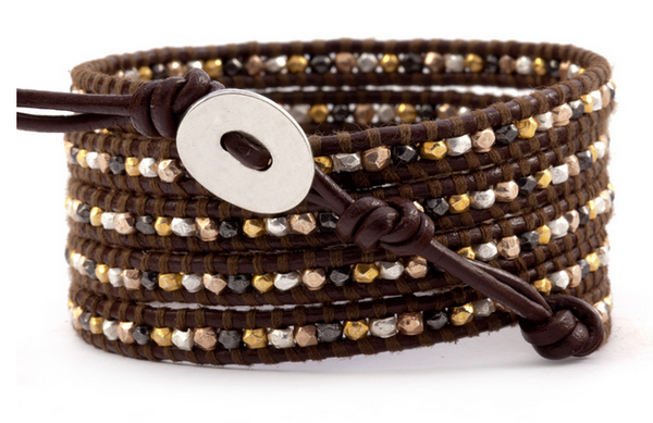 potpourri brown leather wrap bracelet