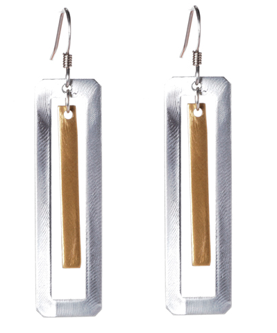 Mixed Metal Rectangle Drop Earrings
