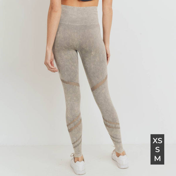 Mono B Graduated Angled Perforation Mineral Wash Seamless Leggings
