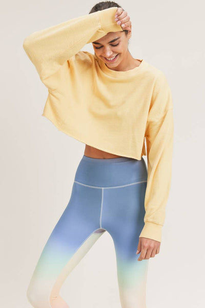 Sweatshirts - Mono B Cropped Jacquard Mineral Wash Pullover - Girl Intuitive - Mono B - S / Yellow
