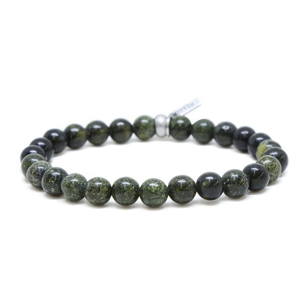 Mr. Ettika Army Green Stone and Silver Ox Elastic Bracelet