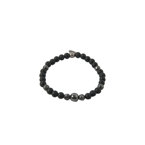 Mr. Ettika Mens Iron Ire Bracelet in Onyx and Antique Silver