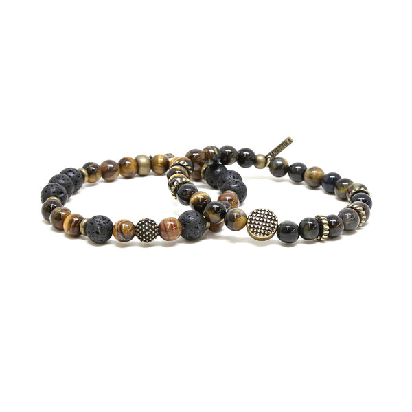 Mr. Ettika Tiger's Eye Mixed Bead Elastic Bracelet Set