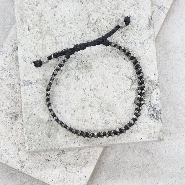 Mr. Ettika Silver Ox on Black Waxed Cord Adjustable Bracelet