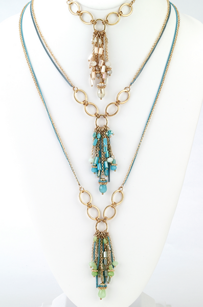 Multi Chain Tassel Long Necklace
