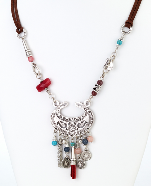 Multi Charm Leather Necklace