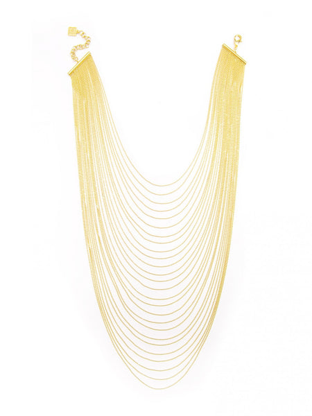Multi-Row Chain Layered Necklace