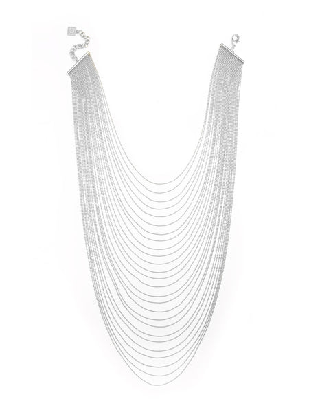 Multi-Row Chain Layered Necklace silver