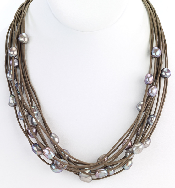 Multi-Row Leather Necklace with Pearls taupe