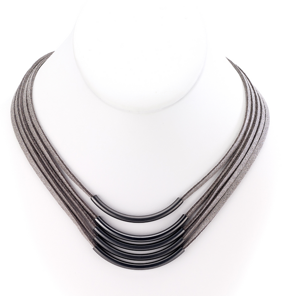 Multiple Strands Leather Necklace with Bar Centerpieces hematite