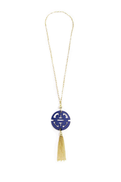 Travel Tassel Long Necklace navy