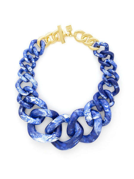 Elephant Link Necklace Cobalt Blue