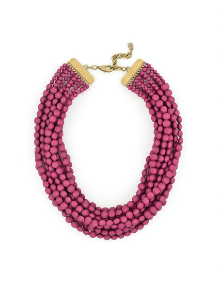 Beaded Matte Bib Necklace purple