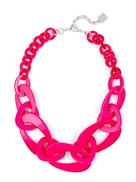 Mod Resin Links Necklace hot pink