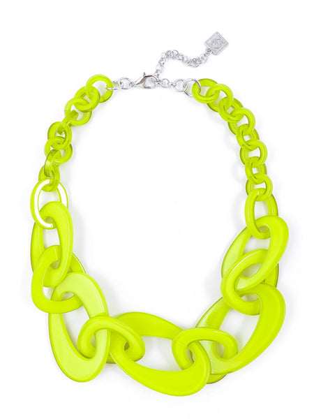 Mod Resin Links Necklace lime