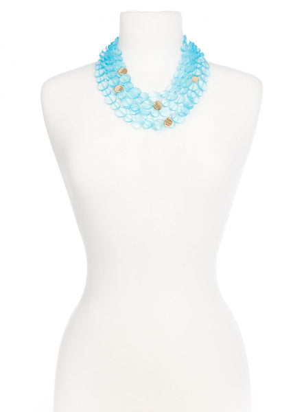 Clear Mod Bib Necklace blue