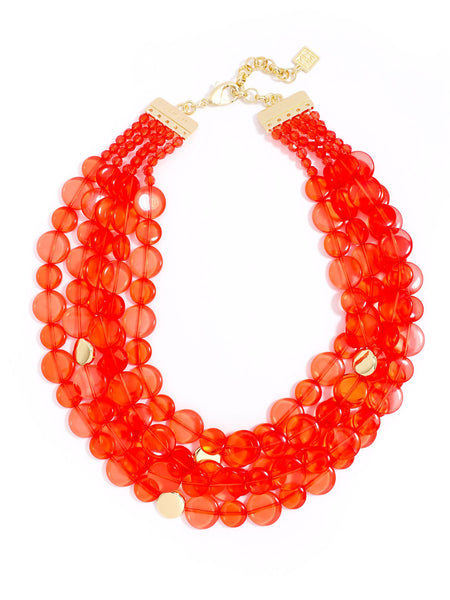 Clear Mod Bib Necklace red