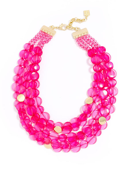 Clear Mod Bib Necklace pink